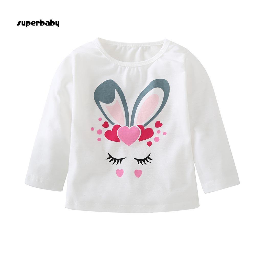 SBaby-Cartoon Rabbit Printed Tee Kids Boys Girls Long Sleeve Cotton Autumn T-shirt Top