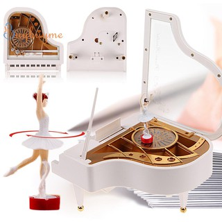 Clockwork Type Rotary Classical Ballerina Girl On The Piano Music Box