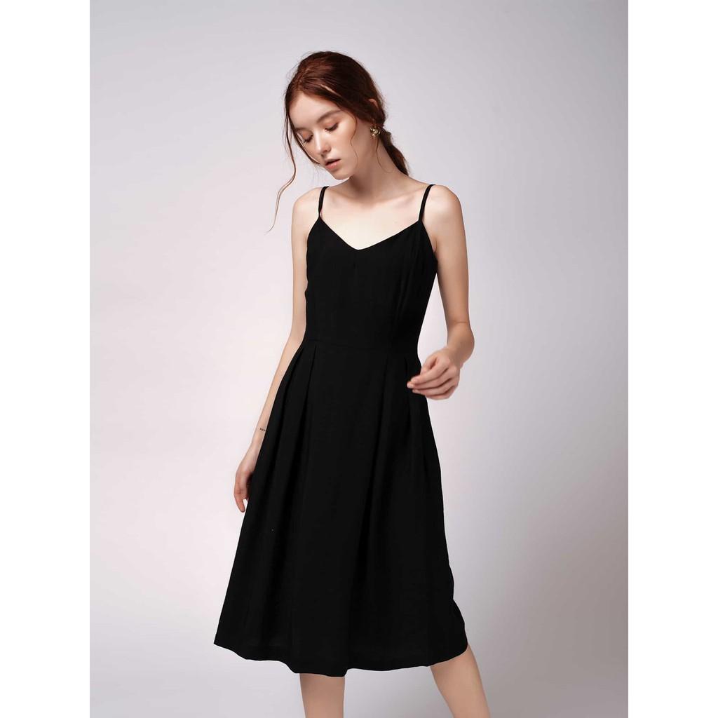 Đầm Dây Vải Tơ Xước Đen - YV LE & CO