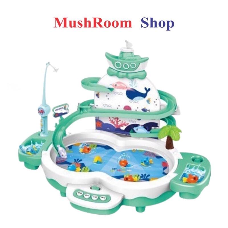Đồ Chơi MushRoom Shop - Bộ Câu Cá Có Tháp Cầu Trượt, Phát Nhạc, Sạc Pin Phát Triển Trí Tuệ Cho Bé