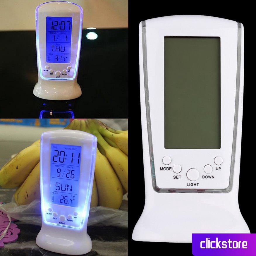 Đồng hồ báo thức kỹ thuật số màn hình LCD vuông có hiển thị lịch tiện lợi/sử dụng pin
