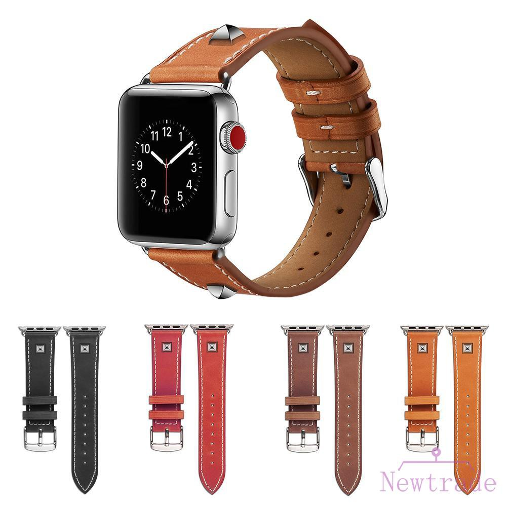 Leather Watch Band Bracelet Strap with Metal Rivet for iWatch Series 1 2 3