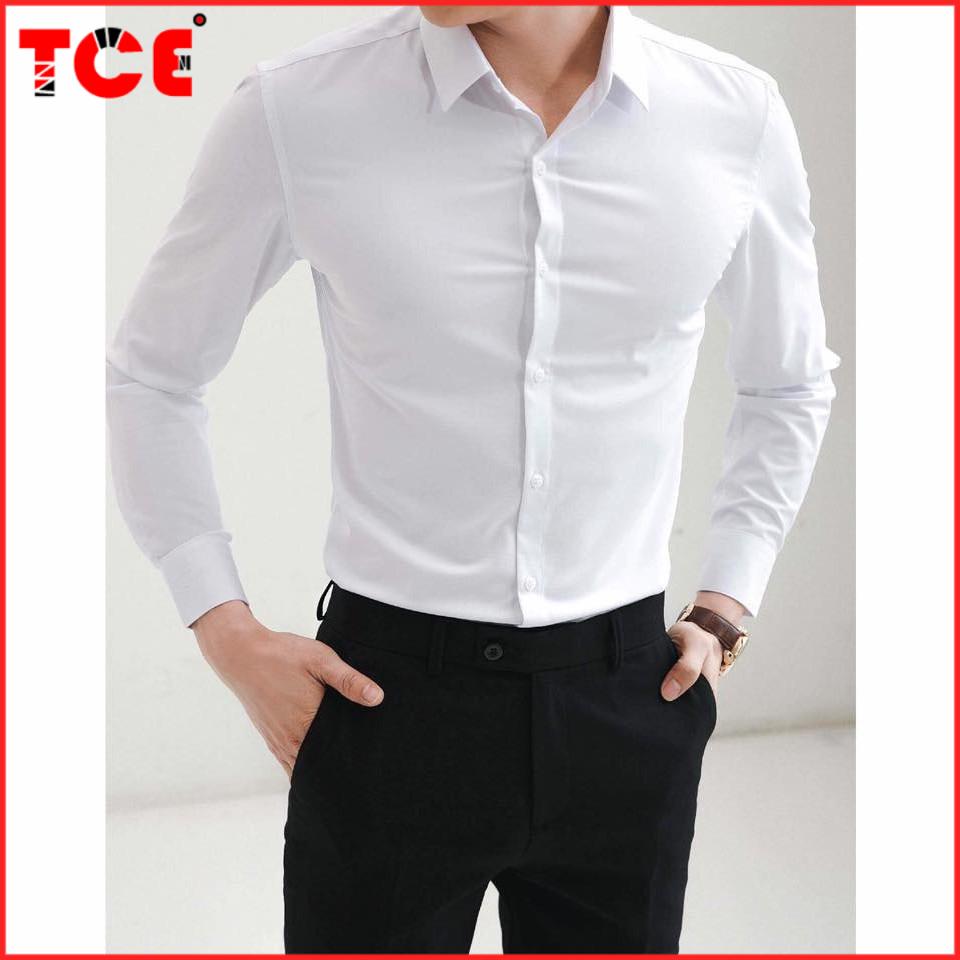 Áo Sơ Mi Nam trắng dài tay Hàn Quốc form body, vải lụa Thái chống nhăn