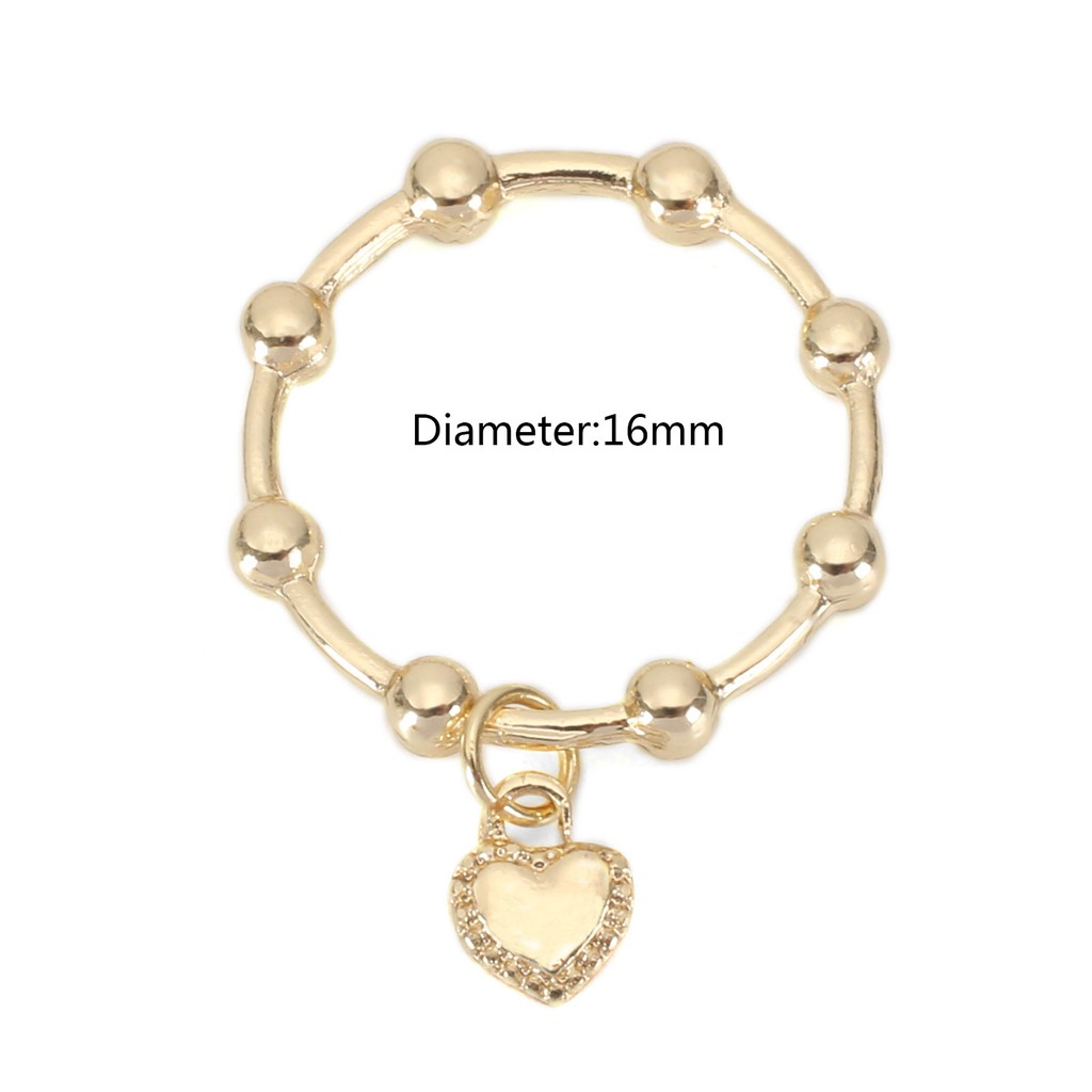Ring Heart Pendant Women Concise Gold Fashion Accessories