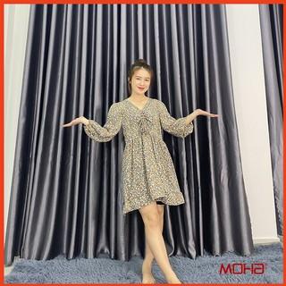 Váy Hoa Nhí Dài Tay Đan Dây Ngực Chất Lụa Mát Lịm Có Khóa Zip Bên Hông Tiện Lợi