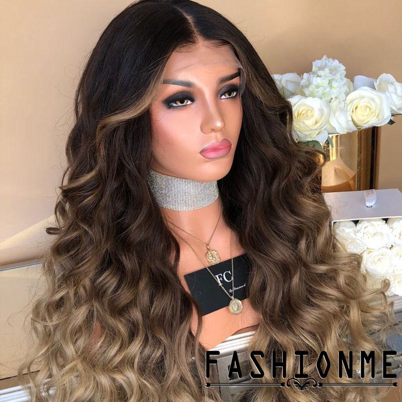 ღ𝓂ℰFashion Womens Lace Front Wig Blonde Long Wavy Party Full Wigs Hair Wigs