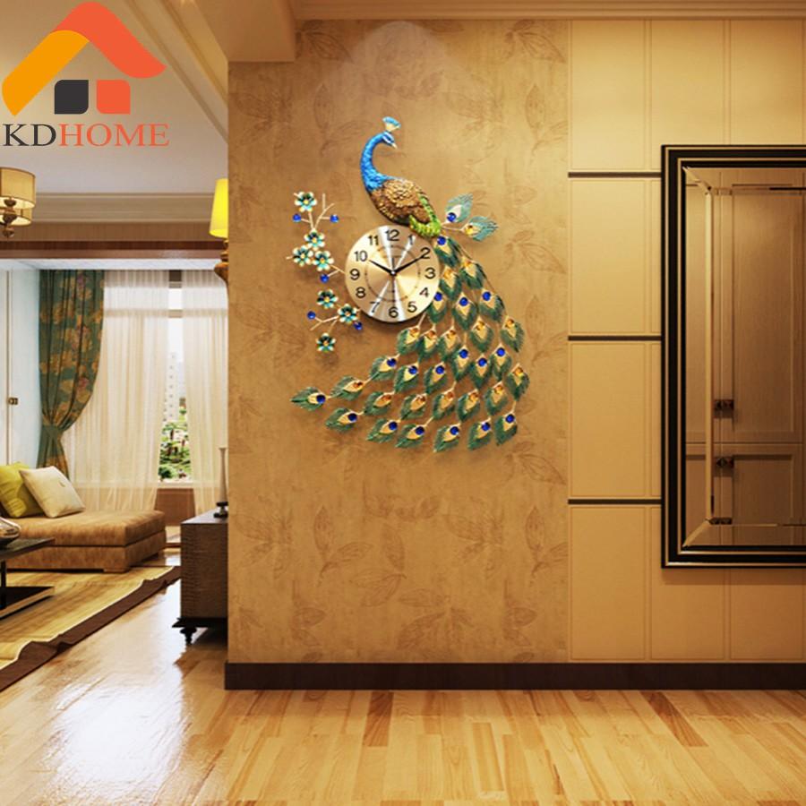 Đồng hồ trang trí - Đồng hồ treo tường decor thép sơn tĩnh điện Chim công xanh rủ đuôi KD916