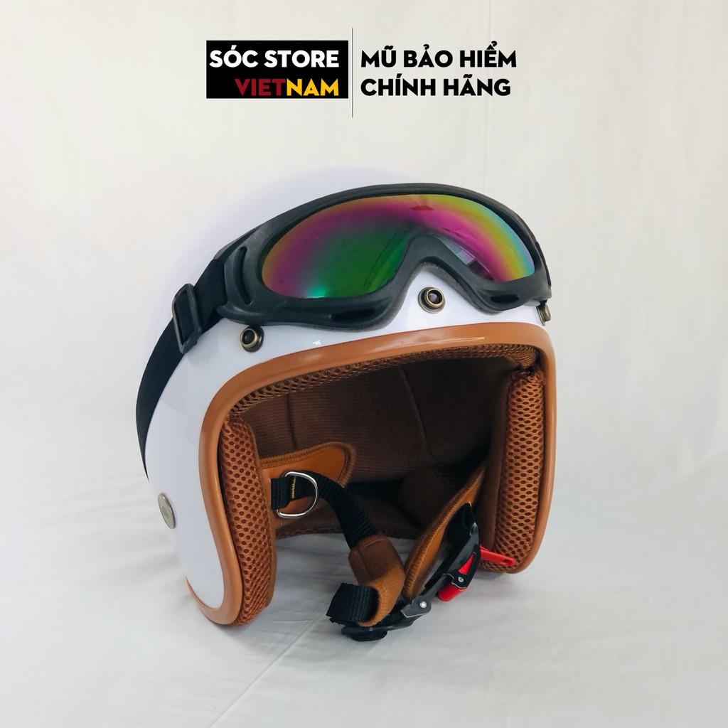 Mũ bảo hiểm 3 phần 4 chính hãng màu trắng Sóc Store, nón bảo hiểm 3 phần 4 nam nữ freesize