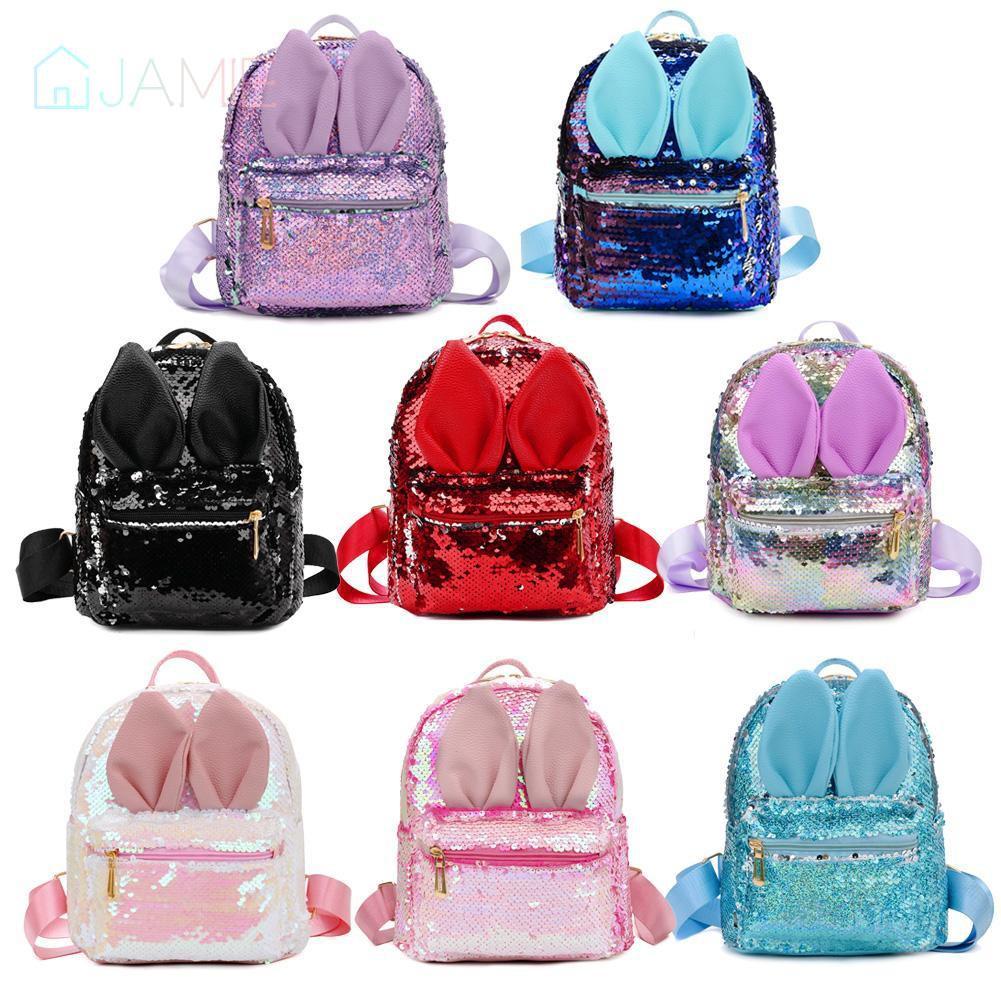 🌸Cute Rabbit Ear Sequins Small Backpacks Women Travel