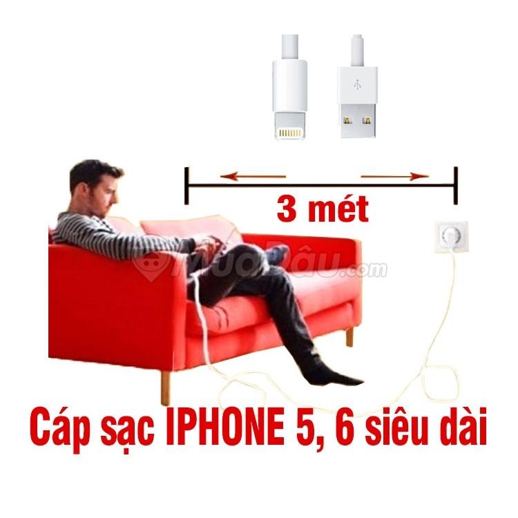 Cáp sạc Iphone 5, 6 siêu dài 3 mét - 3054988 , 280179436 , 322_280179436 , 70000 , Cap-sac-Iphone-5-6-sieu-dai-3-met-322_280179436 , shopee.vn , Cáp sạc Iphone 5, 6 siêu dài 3 mét