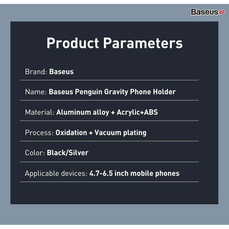 [Mã ELFLASH5 giảm 20K đơn 50K] [Gắn cửa gió]Kẹp điện thoại trên ô-tô Baseus Penguin Gravity