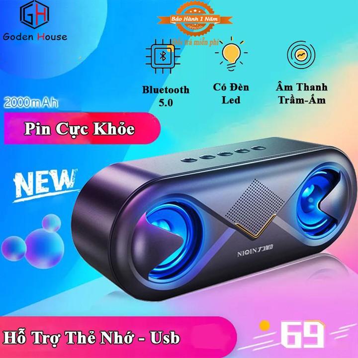 Loa bluetooth Goden House S6 cao cấp, loa bluetooth mini để bàn tích hợp công nghệ âm thanh stereo siêu trầm ấm
