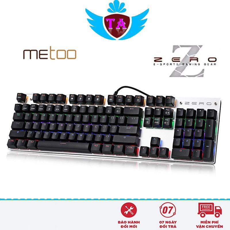 Bàn phím cơ Metoo zÊrÔ FullSize 104 phím LED RGB, Led Rainbow