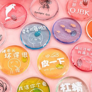(BVT-COD)1PCS Winter Reusable Gel Hand Warmer Cute Funny Word Print Heating Pack Warmer