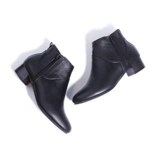 Giày Boot Thấp 3cm Cổ Ngắn 2 Dây Kéo Da Bò Thật Màu Đen Pixie P697