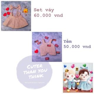 [Doll Outfit] Set đầm sọc- Yếm sọc