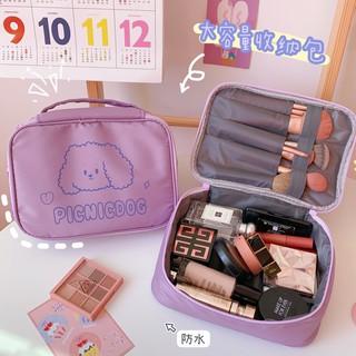 Túi đựng mỹ phẩm chống thấm nước sức chứa lớn màu hồng trắng dùng khi đi du lịch