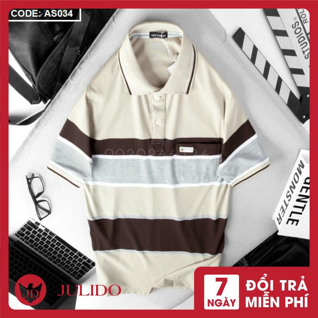 Áo thun Polo nam trung niên có túi JULIDO vải cá sấu Cotton xuất xịn, chuẩn form,sang trọng-lịch lãm J85 JULIDO