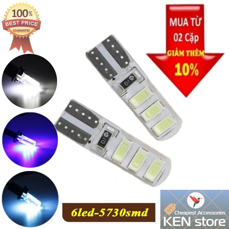 Bóng LED T10 đèn xi nhan, đèn demi, đèn sương mù, đèn led xe máy 6 chip smd silicon