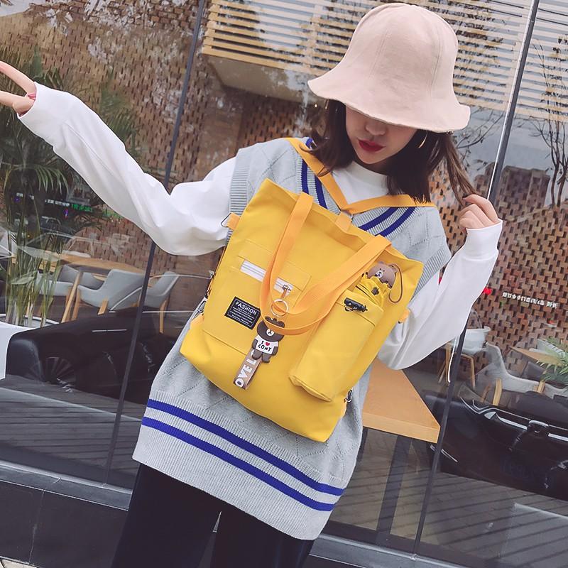 Túi Vải Canvas Cỡ Lớn Đính Búp Bê Xinh Xắn Cho Nữ