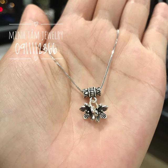 Charm bạc treo 2 nụ hoa mai S925