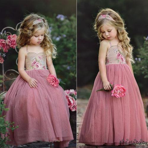 Đầm ren hoa maxi phù dâu cho bé gái