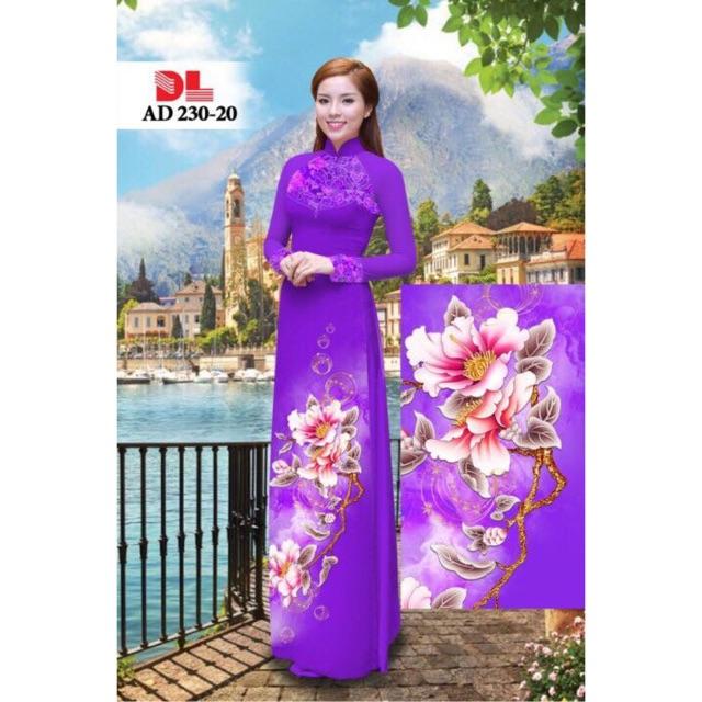 Vải áo dài in hoa sen