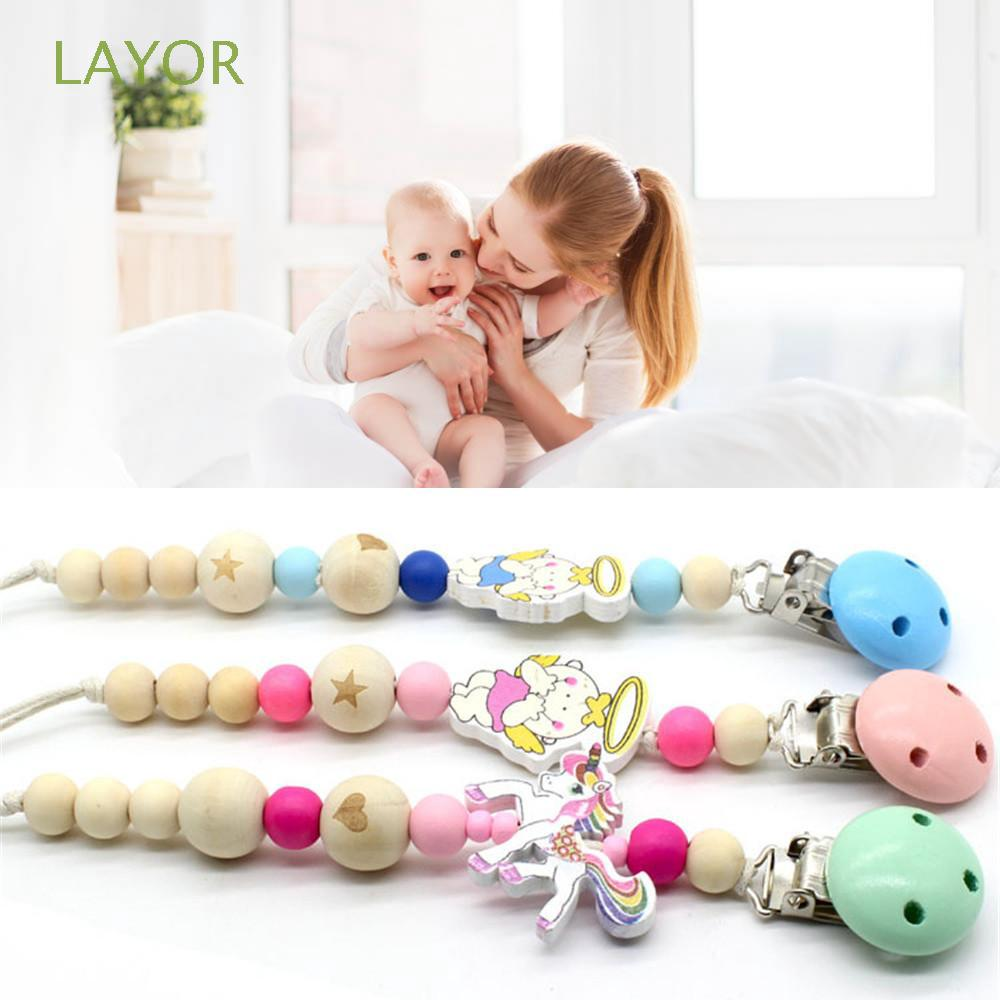 Infant Gift Cartoon Wood Beads Chew Non-toxic Pacifier Clip Chain