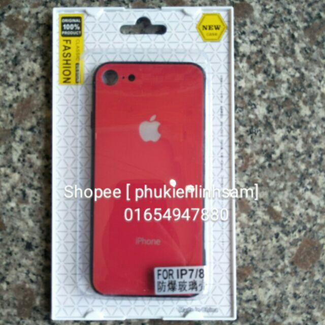 Ốp lưng kính cho IPhone 7/ IPhone 8 hiệu Fashion - Đỏ
