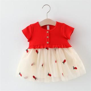 Đầm thun ngắn tay phối lưới thêu họa tiết trái dứa đáng yêu cho bé gái