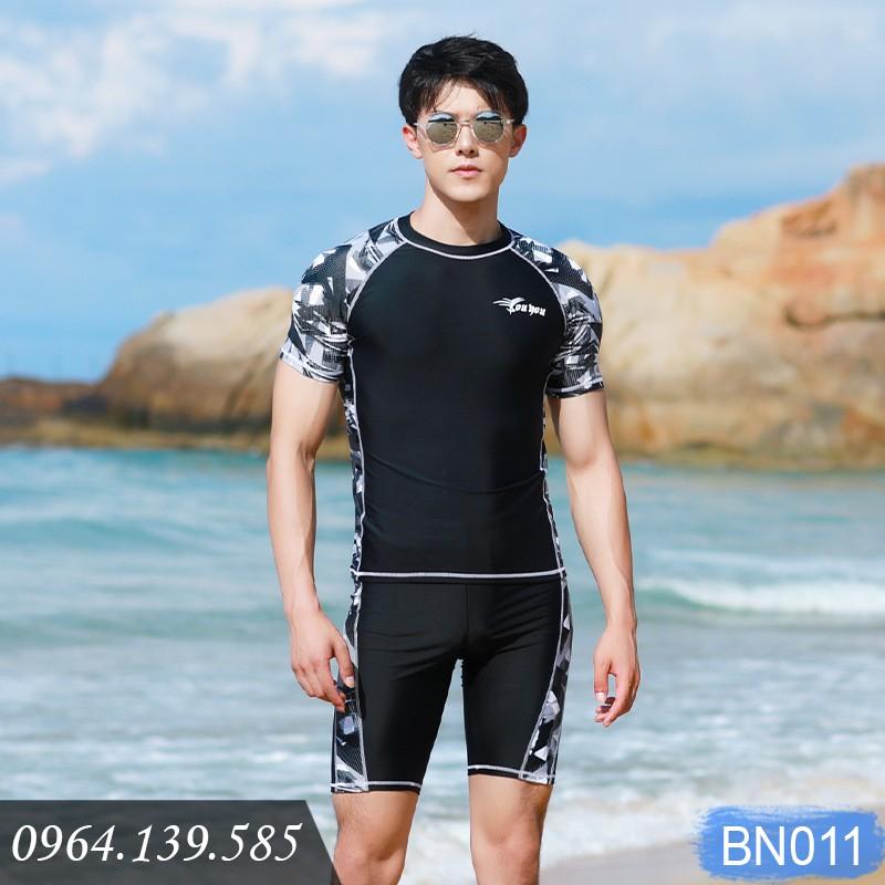 Bộ bơi cộc tay quần sooc đùi nam, quần và áo bơi cho phái mạnh, chất bơi spandex cao cấp co giãn 4 chiều | BN011