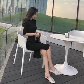 Dress Long-Sleeve Dress Knitted Dress Long Dress Simple Solid Color Slim Mid-Length Knitted Skirts Fashion Autumn New Half-Sleeve Shirt Slit Hemline at HemAWord Skirt Dress