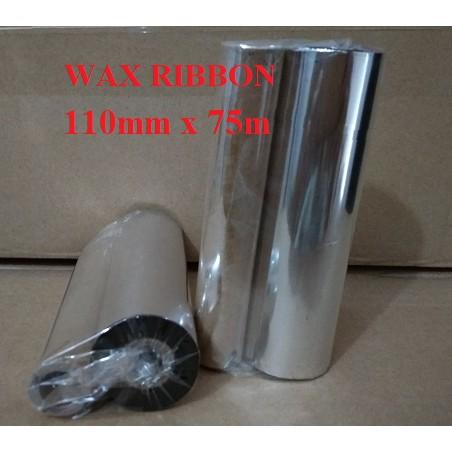 Mực in tem nhãn mã vạch Wax Ribbon 110mmx75m plus ( Lõi bé)