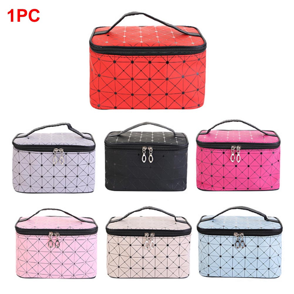 Square Travel Toiletry Cosmetic Cotton And Linen Makeup Bag