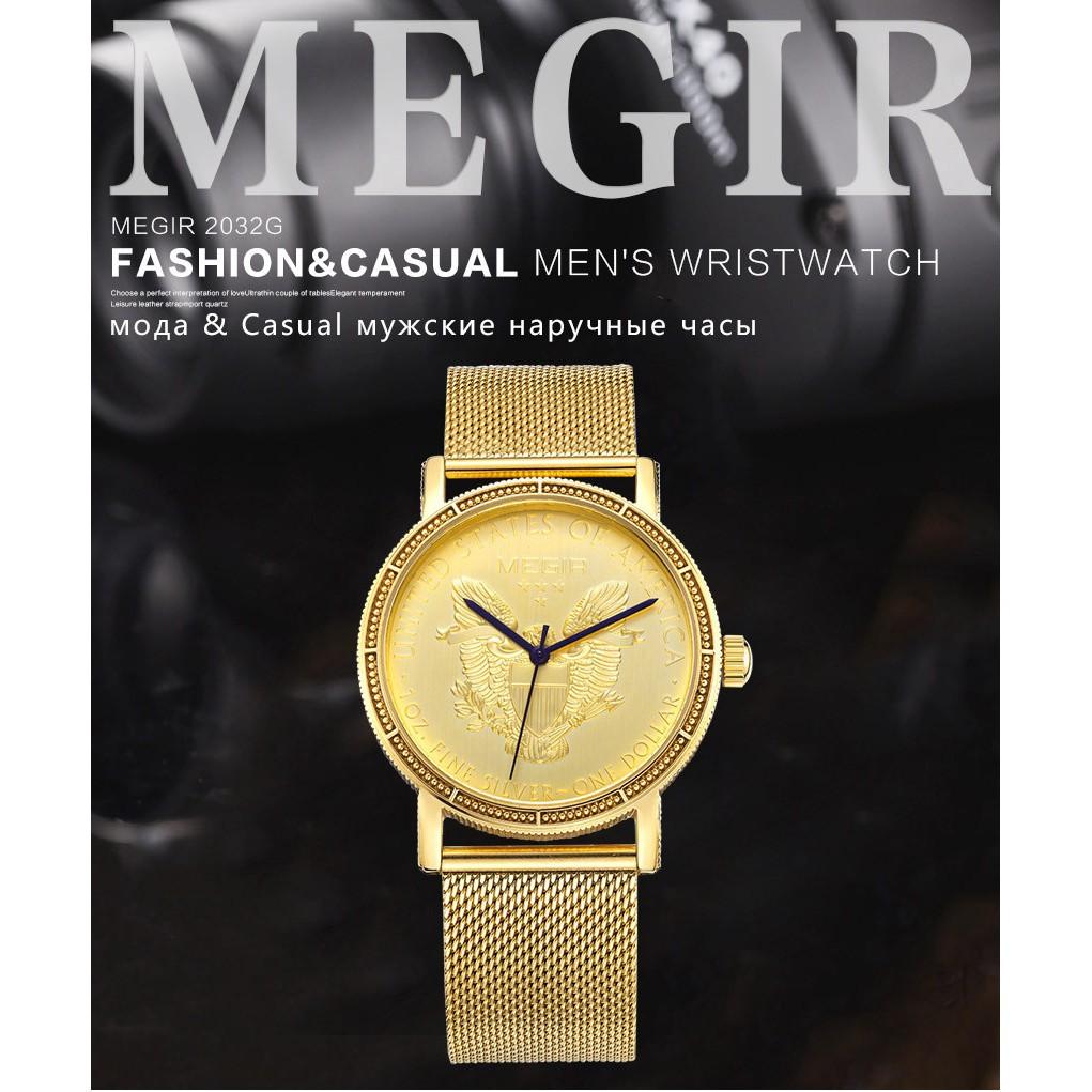 Đồng hồ thạch anh Megir2032 mặt tròn phối dây bằng thép không gỉ xi mạ vàng thời trang cho nam