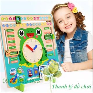 Bảng lịch đồng hồ đa năng hình ếch xanh cho bé