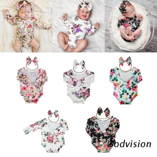 BB Newborn Photography Props Baby Floral Hollow Open Back Romper Headband Outfits