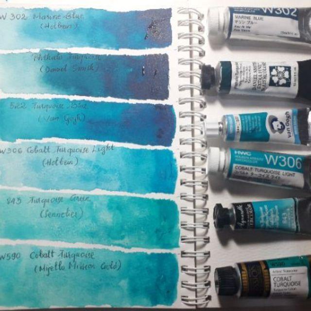 Set màu nước 1ml hộp nhựa 6 màu xanh ngọc chọn lọc Schmincke, Daniel Smith, Sennelier, Holbein, Mijello, Van Gogh
