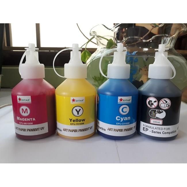 Bộ 4 màu mực dầu Epson Pigment UV 100ml không phai màu, chống nước: Xanh, Đỏ, Vàng, Đen. Bình, chai, lọ đổ, bơm, nạp