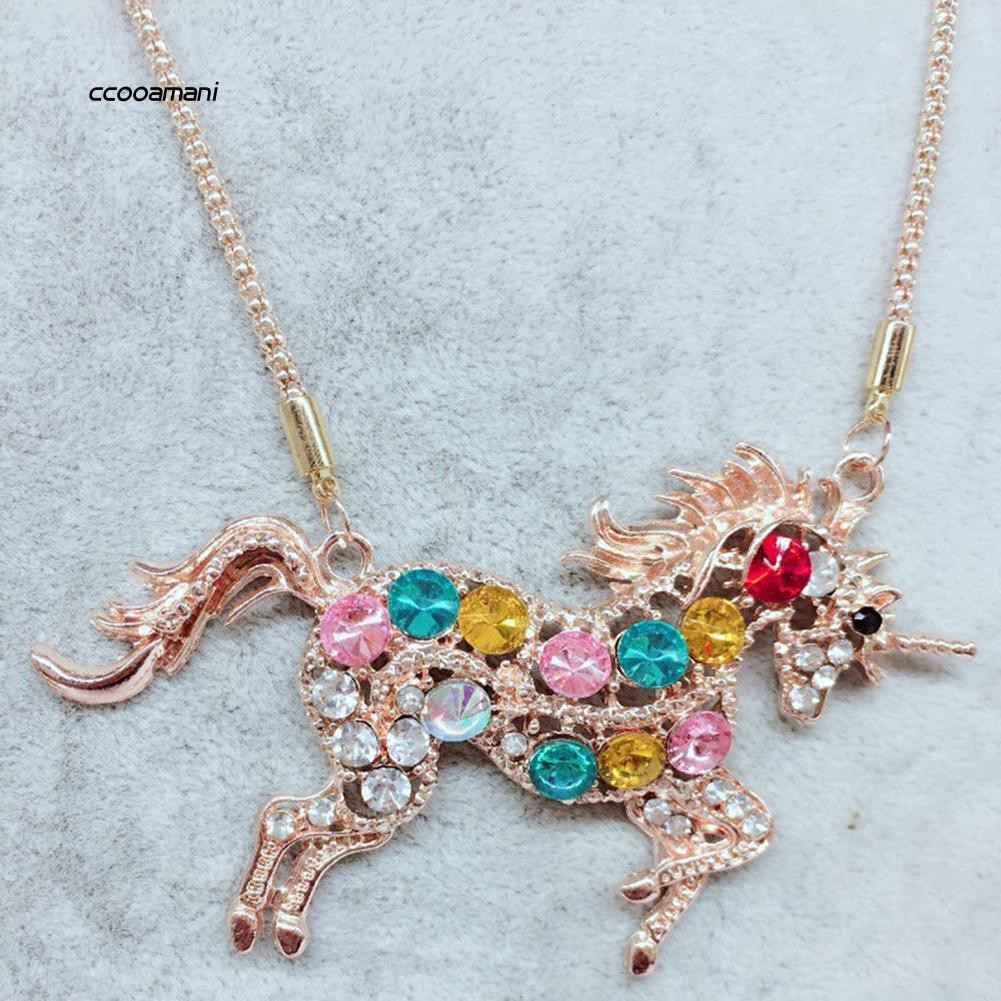 XL-Magical Unicorn Rainbow Rhinestone Pendant Fashion Women Long Necklace Jewelry