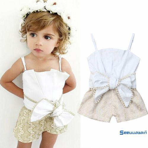 ☽&✰Newborn Kid Baby Girl Lace Sling Openwork Bow Summer Clothes Set