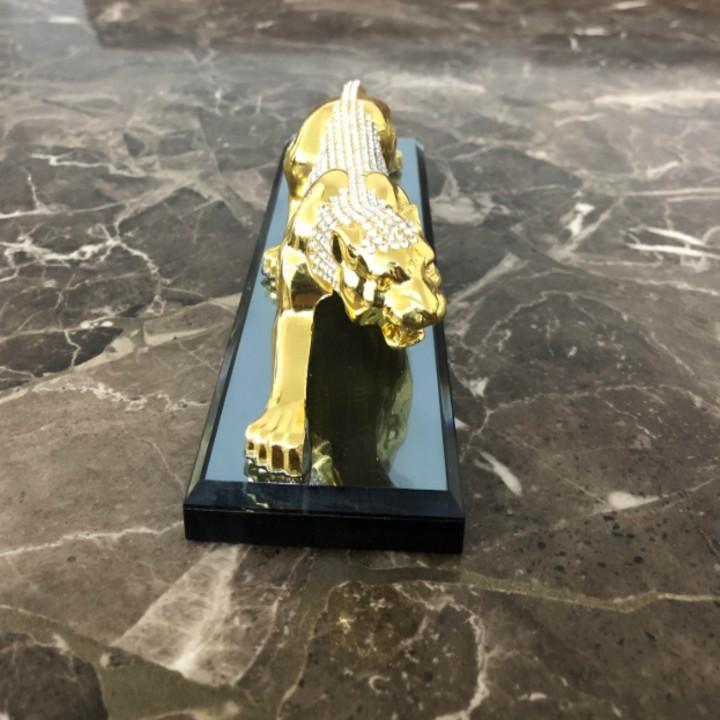 Tượng báo đúc đồng mạ vàng, gắn pha lê tích hợp nước hoa trang trí cao cấp trên ô tô, xe hơi - Mã: A72574