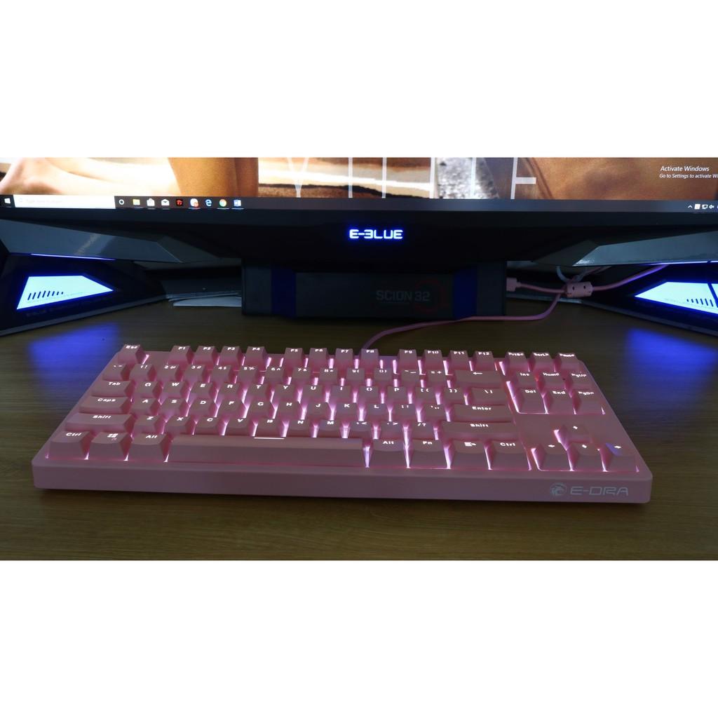 Bàn Phím Cơ E-Dra EK387 Pink / Black RGB LED, Chống Nước - Chính Hãng