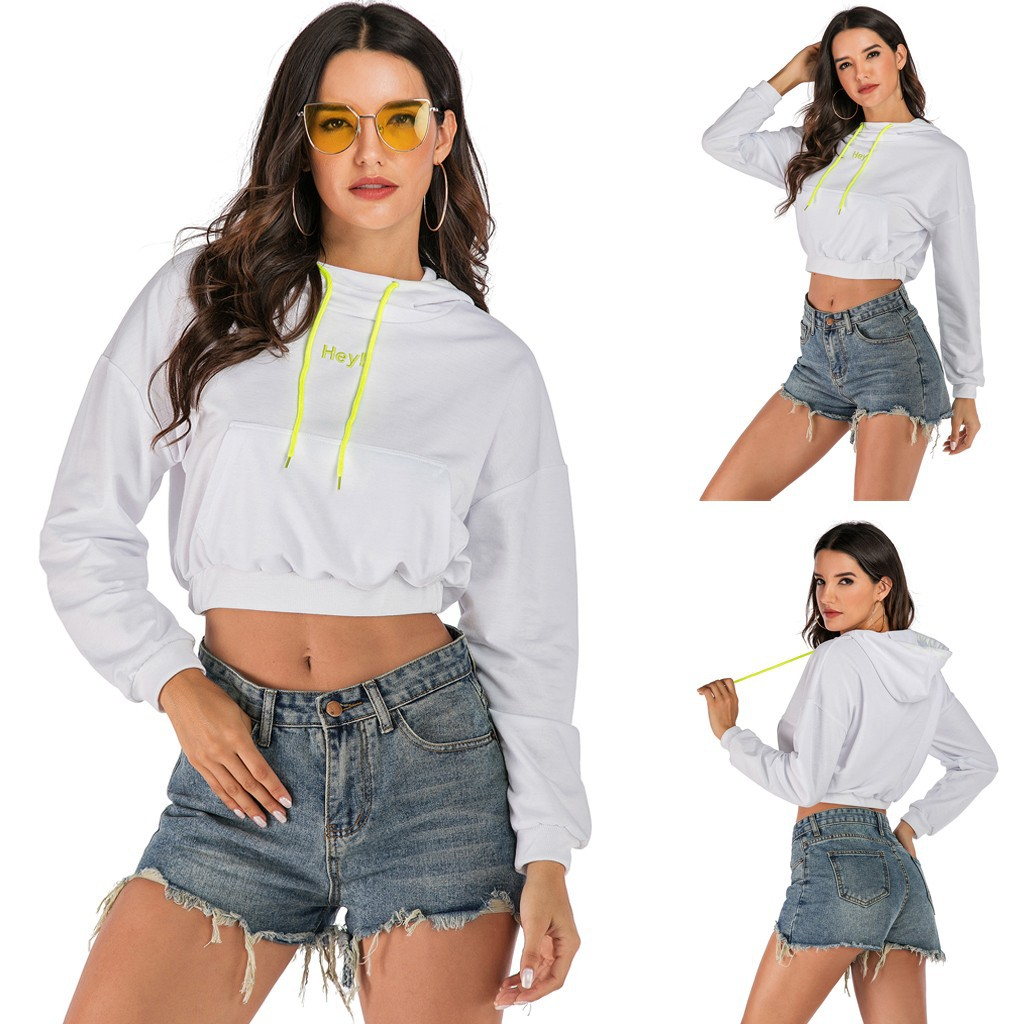 🍀[COD+Ready Stock]Women Casual Embroidery Long Sleeve Crop Top Shirt Hooded Sweatshirt Loose Tops