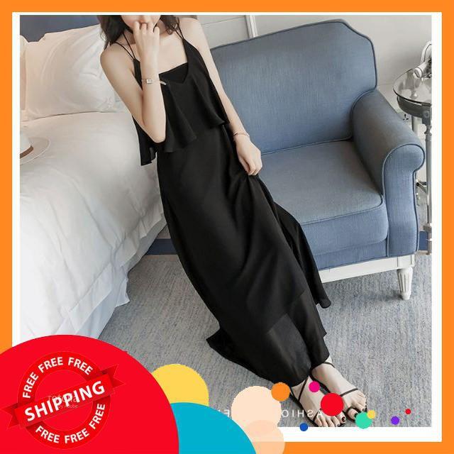 <Siêu rẻ>  TN004 - Đầm maxi thun dây đôi siêu sang,đầm nữ thời trang,đầm nữ dự tiệc mùa hè