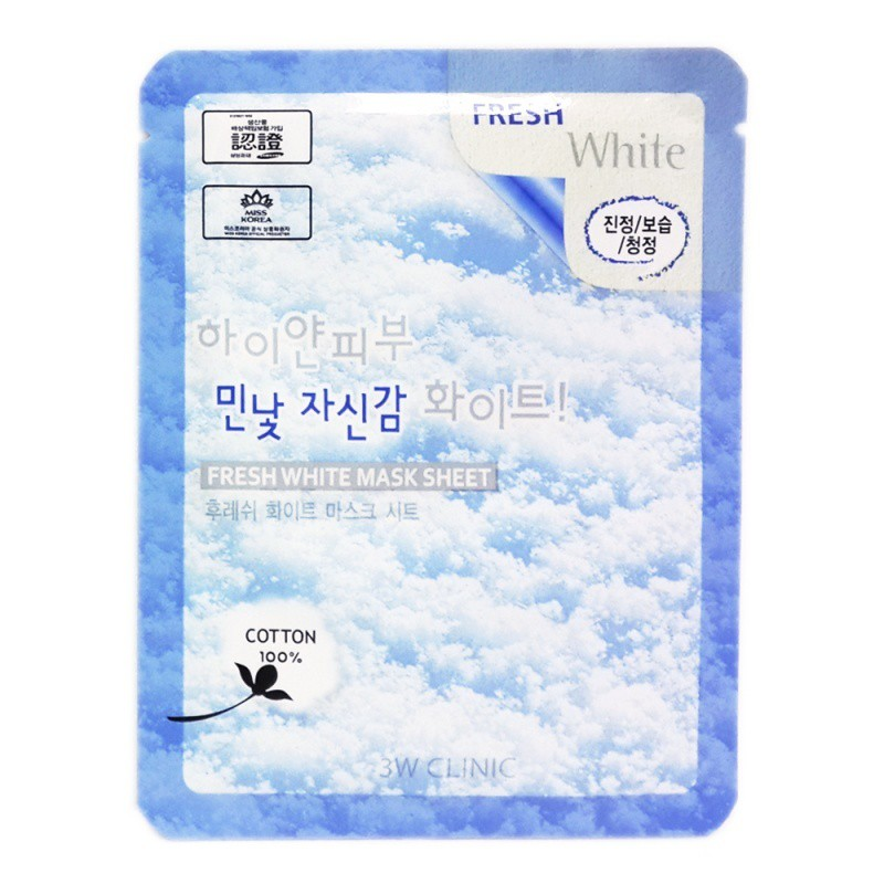 Hàng Chính Hãng mặt nạ tuyết dưỡng trắng da 3W Clinic Fresh White Mask  Sheet 23ml   Shopee Việt Nam