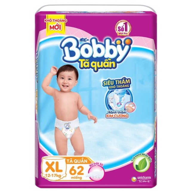 [Trà xanh] Tã quần Bobby M74/L68/XL62/XXL56 Jumbo siêu đại