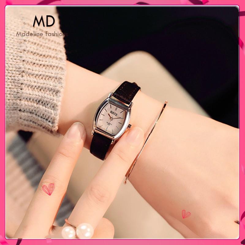 Đồng hồ thời trang nữ RATE R01 mặt ovan cực đẹp, dây da mềm đeo ê