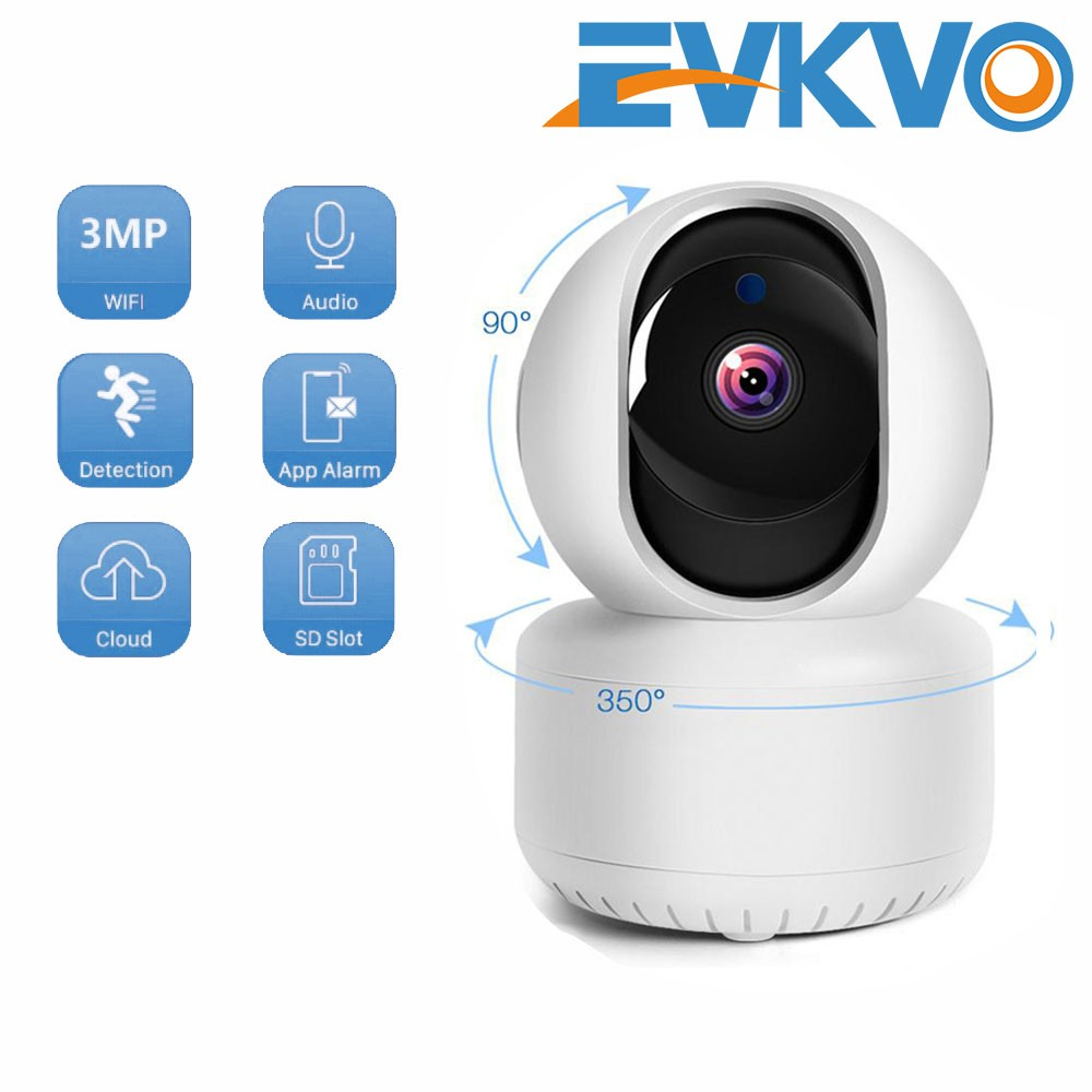 EVKVO - FREE Power Adapter - ICSEE XMeye APP Rotate Wireless HD 3MP WIFI PTZ IP Camera CCTV IR Night Vision Auto Motion Tracking ONVIF H.265 Motion Detection Alarm Two-Way Audio Baby Monitor P2P Home Security Surveillance Camera
