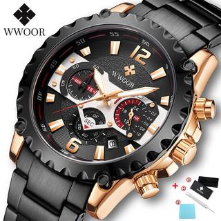 WWOOR Men's Watches Waterproof Analog Clock Stainless Steel Business Watch For Men 8880